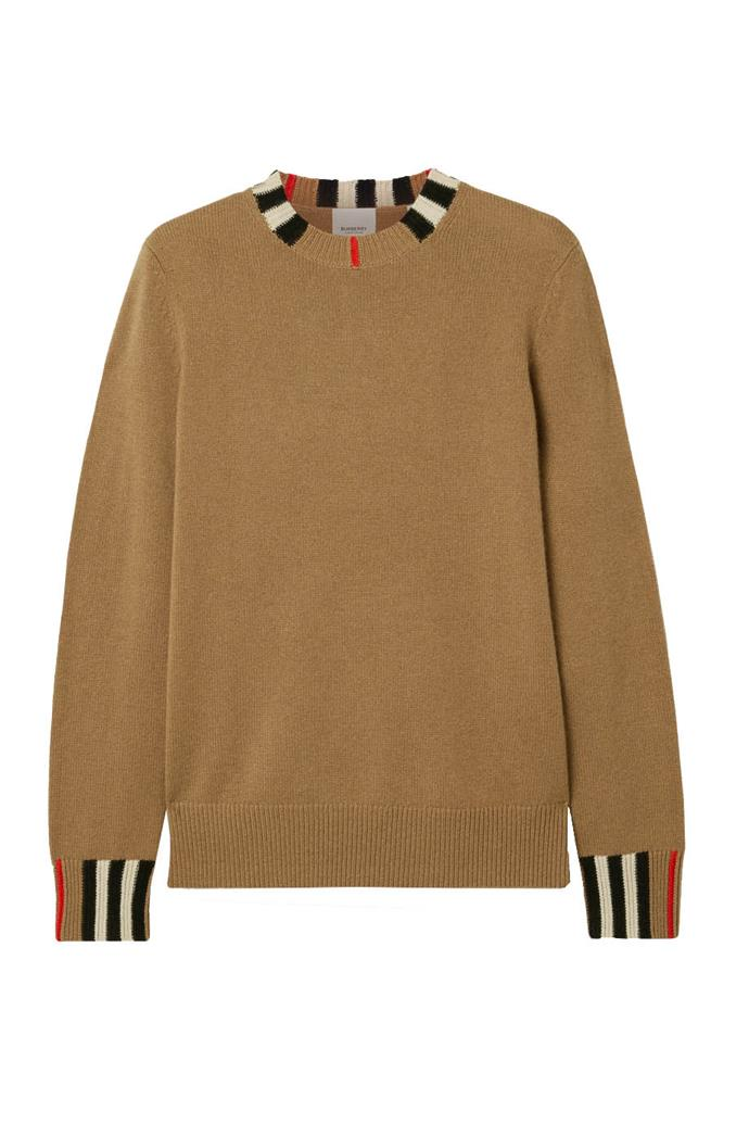 "**Preppy**<br><br>  Striped cashmere sweater by Burberry, $1,220 at [NET-A-PORTER](https://www.net-a-porter.com/au/en/product/1196668|target=""_blank""