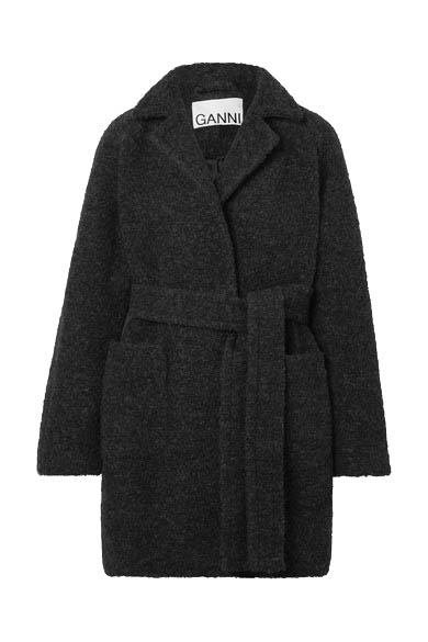 "**Everything Off-Shoulder**<br><br>  Belted wool-blend bouclé coat by Ganni, $411 at [NET-A-PORTER](https://www.net-a-porter.com/au/en/product/1198649|target=""_blank""