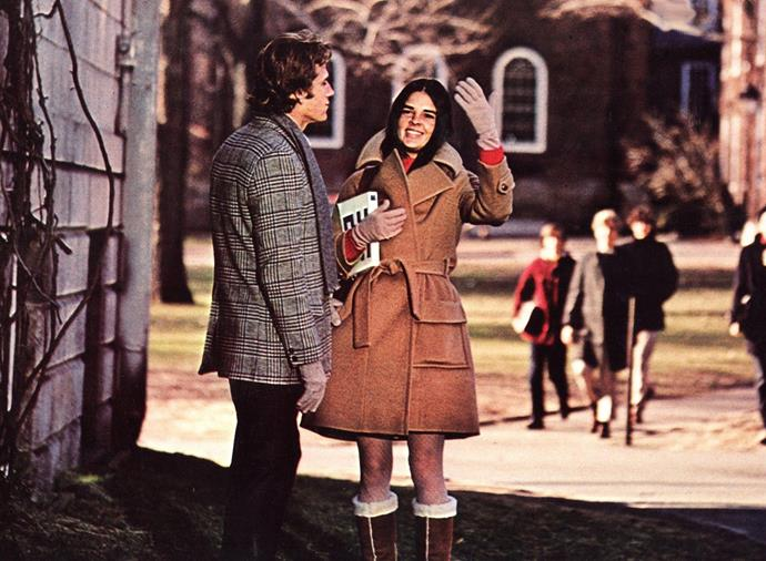 "***Love Story* (1970)** <br><br> This classic love story (pun intended) stars screen icon Ali MacGraw in one of her earliest roles, and aside from the heartbreaking plot, MacGraw's timeless, laid-back wardrobe makes for all kinds of vintage fashion inspiration—especially at a time when '60s and '70s-inspired '[bougie dressing](https://www.harpersbazaar.com.au/fashion/bougie-trend-2019-18294|target=""_blank"")' is *so* on-trend."