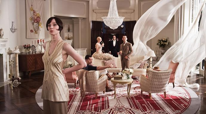 ***The Great Gatsby* (2013)** <br><br> Baz Luhrmann's over-the-top recreation of F. Scott Fitzgerald's 1925 novel stars Carey Mulligan, Leonardo DiCaprio and Elizabeth Debicki, and we'll always remember it for the flapper-inspired costumes—many of which were sourced from Prada and Miu Miu's archives, and accessorised to look appropriate for the roaring '20s.