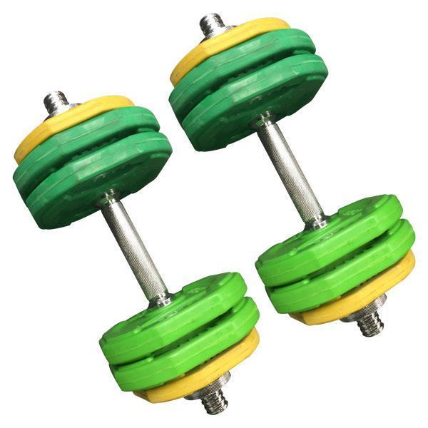 "**Adjustable Dumbells**<br><br>  **Use it for:** Strength training, circuit training<br><br>  It's not exactly practical to have a whole set of individual dumbbells lying around in your living room, and that's precisely where these adjustable ones come. Great for keeping up your strength training, you can easily change the weights as and when needed, which also allows you to be progressive with your workouts. If you do like to do circuit sessions (think [Kayla Itsines' BBG](https://www.elle.com.au/health-fitness/kayla-itsines-bbg-beginner-22655|target=""_blank"")), we recommend buying two sets of adjustable dumbells, just to help minimise the need to adjust weights between exercises.<br><br>  *30kg rubber coloured adjustable standard dumbell set by Gym Direct, currently $130 at [Gym Direct](https://fave.co/3ayFGi8