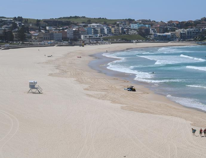Bondi Beach on March 22, 2020. The beach has been closed since March 21, 2020 as part of strict new self-quarantine rules imposed by the government.