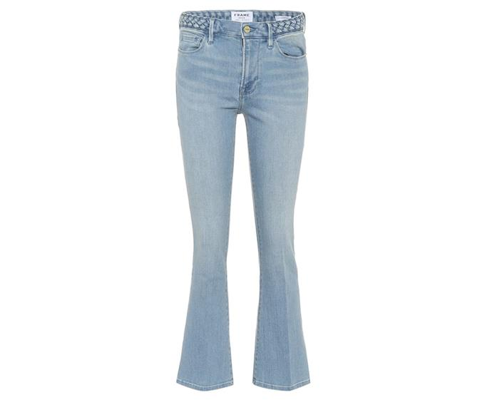"**Le Crop Mini Boot mid-rise jeans by Frame, $363 at [My Theresa](https://www.mytheresa.com/en-au/frame-le-crop-mini-boot-mid-rise-jeans-1204478.html|target=""_blank""