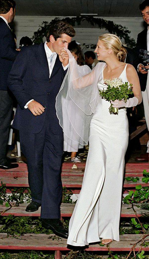 """**Carolyn Bessette-Kennedy in Narciso Rodriguez (1996)** <br><br> Easily one of the most iconic wedding dresses of all time, the Narciso Rodriguez slip worn by [Carolyn Bessette-Kennedy](https://www.harpersbazaar.com.au/fashion/carolyn-bessette-kennedy-fashion-17125