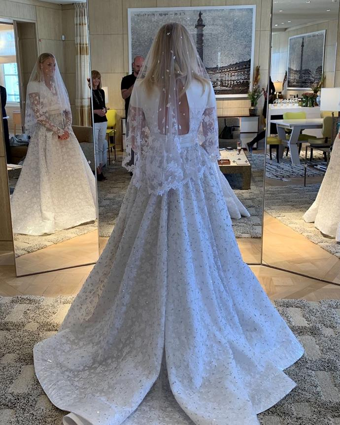 """**Sophie Turner in Louis Vuitton (2019)** <br><br> Though Sophie Turner only shared one photo of her gown from her 2019 French [wedding](https://www.elle.com.au/fashion/sophie-turner-wedding-dress-20807