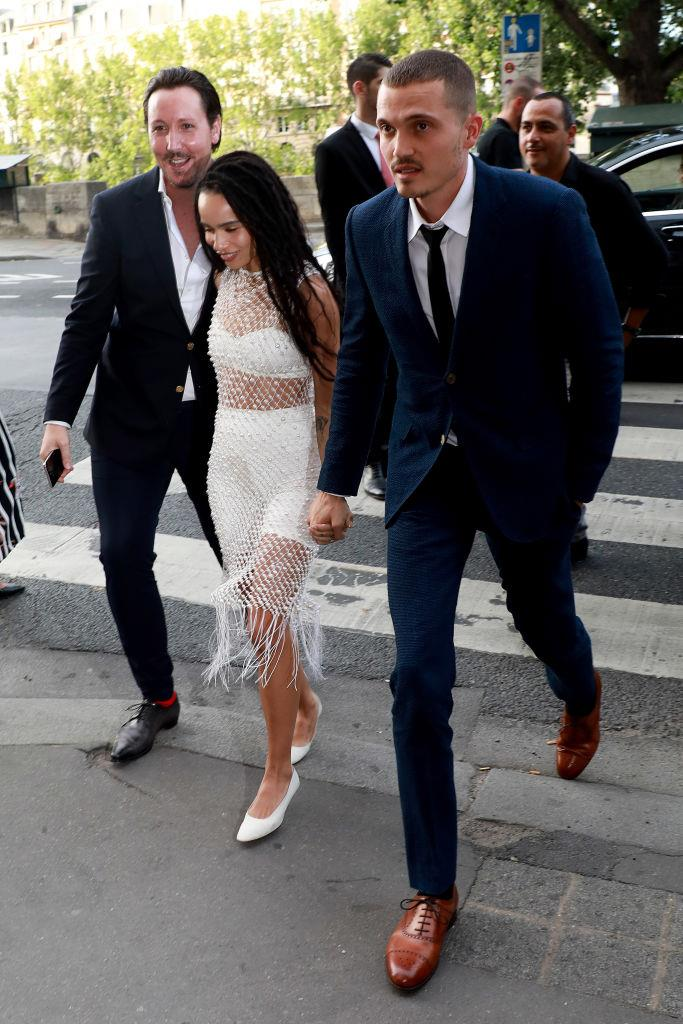 Kravitz and Glusman arriving at their wedding rehearsal dinner in Paris in May 2019.