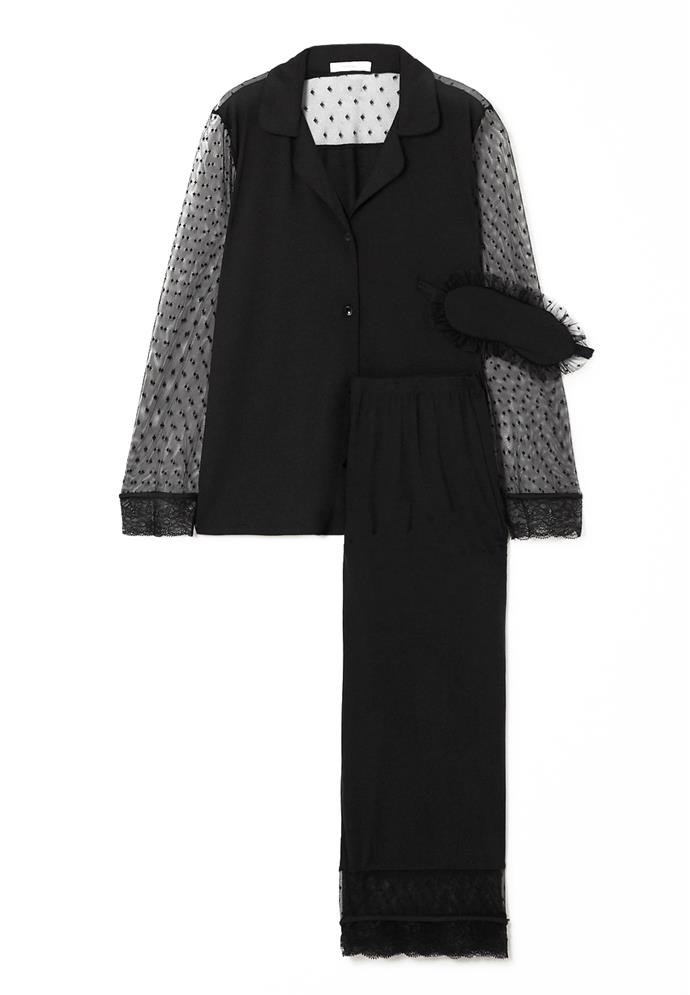 """Consider this three-piece set a glamorous alternative to your trackies-and-hoodie combo. <br><br> *Pyjama and eye mask set by Eberjey, $308.07 at [Net-a-Porter](https://www.net-a-porter.com/au/en/product/1169997 target=""""_blank"""" rel=""""nofollow"""")*"""