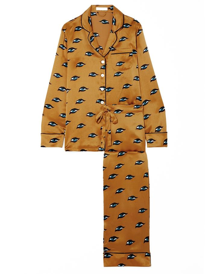 """Inspired by lounging pyjamas worn by Coco Chanel and her contemporaries in the '20s, Olivia Von Halle's silk-satin pyjama separates feature directional prints that are destined to brighten your workday. <br><br> *Pyjama set by Olivia Von Halle, $663.29 at [Net-a-Porter](https://www.net-a-porter.com/au/en/product/1206544 target=""""_blank"""" rel=""""nofollow"""")*"""