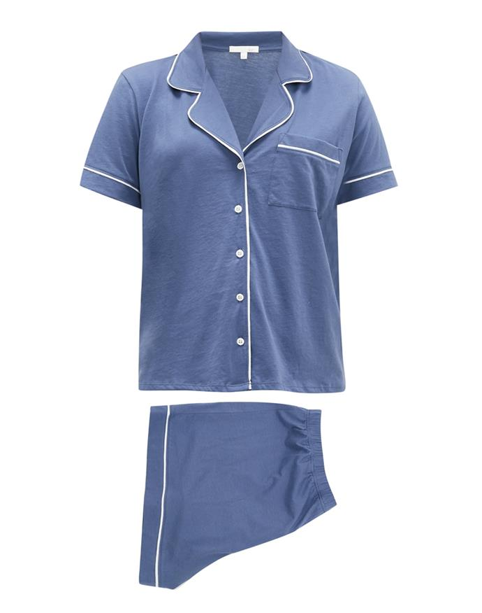 """Skin's cotton co-ords strike the perfect balance between laid-back and luxe. <br><br> *Pyjama set by Skin, $202 at [MATCHESFASHION.COM](https://www.matchesfashion.com/au/products/Skin-Piped-notch-collar-cotton-pyjamas-1342140 target=""""_blank"""" rel=""""nofollow"""")*"""