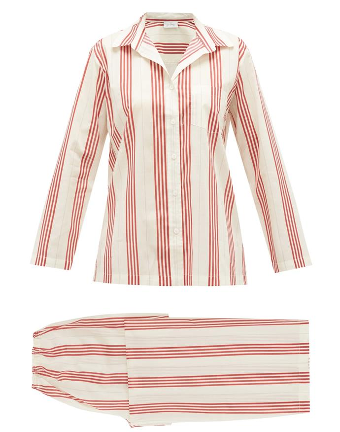 """Crafted from breathable lightweight cotton, this striped set is ideal for warm autumn days. They're also a feel-good buy: Pour Les Femmes' pyjamas benefit charitable organisations that promote brighter futures for women living in conflict regions around the world. <br><br> *Pyjama set by Pour Les Femmes, $300 at [MATCHESFASHION.COM](https://www.matchesfashion.com/au/products/Pour-Les-Femmes-Striped-cotton-voile-pyjamas--1350002 target=""""_blank"""" rel=""""nofollow"""")*"""