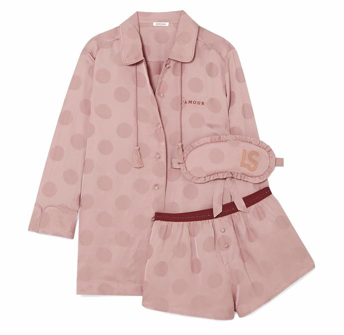 """Shopping for a birthday gift to send to a friend? This three-piece collection is a thoughtful buy. <br><br> *Pyjama and eye mask set by Love Stories, $325.13 at [Net-a-Porter](https://www.net-a-porter.com/en-au/shop/product/love-stories/joe-frenchie-and-sunday-polka-dot-satin-jacquard-pajama-set/1170025 target=""""_blank"""" rel=""""nofollow"""")*"""