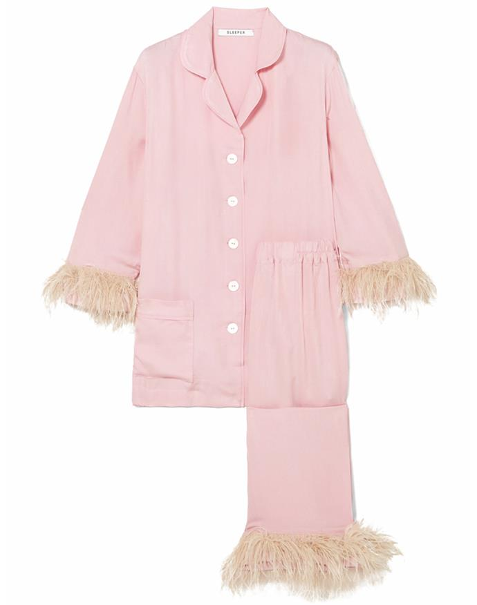 """Sleeper's pastel-pink and beige crepe de chine pyjamas will serve you well now and post self-isolation: just add a pair off strappy sandals and an oversized pouch for an after-hours edit. <br><br> *Pyjama set by Sleeper, $387.33 at [Net-a-Porter](https://www.net-a-porter.com/en-au/shop/product/sleeper/satin-and-feather-trimmed-crepe-de-chine-pajama-set/1186264 target=""""_blank"""" rel=""""nofollow"""")*"""