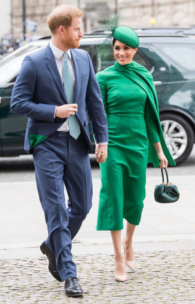 Meghan, the Duchess of Sussex in an Emilia Wickstead dress in London on March 9, 2020.