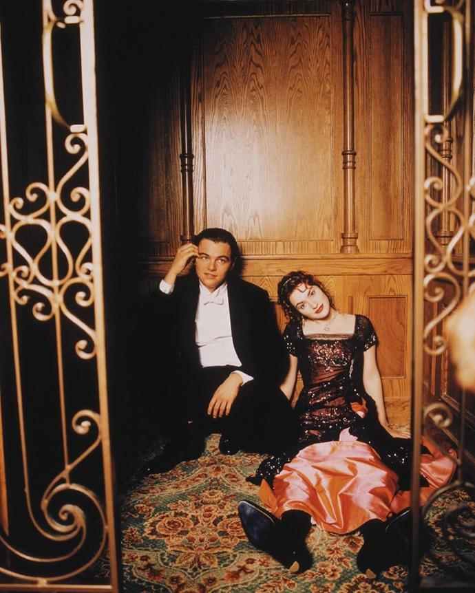"Leonardo DiCaprio and Kate Winslet on the set of *Titanic* (1997). <br><br> *Image: Instagram [@bitchbewithyou](https://www.instagram.com/p/B4ljByPlWuM/|target=""_blank""|rel=""nofollow"")*"