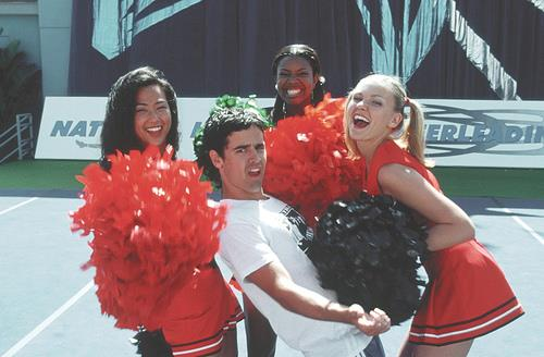 Nicole Bilderback, Jesse Bradford, Gabrielle Union and Kirsten Dunst filming *Bring It On* (2000).