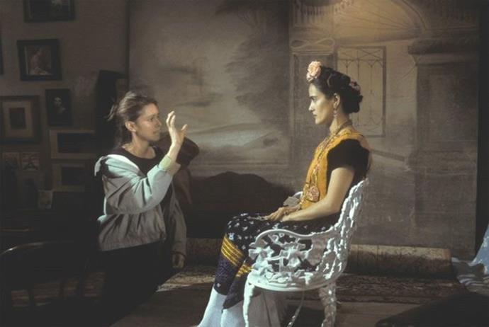 Salma Hayek and director Julie Taymor on the set of *Frida* (2002).