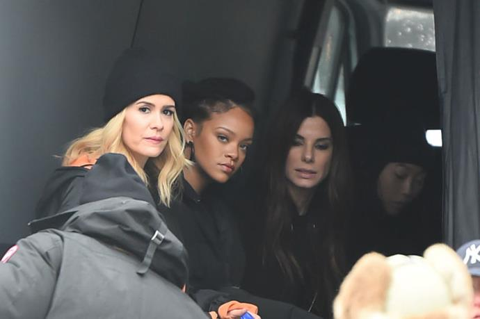Sarah Paulson, Rihanna, Sandra Bullock and Awkwafina on the set of *Ocean's Eight* (2018).