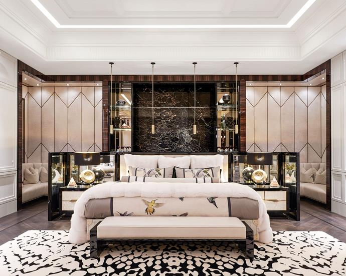 "The master bedroom including a custom Alexander McQueen hummingbird tapestry that was transformed into bedding. <br><br> *Image by Jason Schmidt for [Architectural Digest.](https://www.architecturaldigest.com/story/inside-rapper-drakes-hometown-manor-in-toronto|target=""_blank""