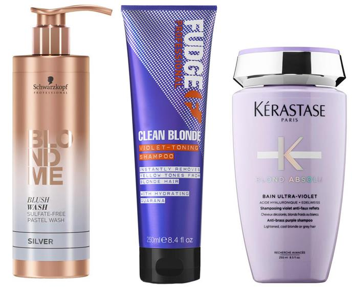 "Schwarzkopf BLONDME Blush Wash Silver ($28.95, [Oz Hair & Beauty](https://www.ozhairandbeauty.com/collections/all/products/schwarzkopf-blondme-blush-wash-silver-250ml target=""_blank"" rel=""nofollow"")), FUDGE Clean Blonde Violet Toning Shampoo ($10, [Priceline](https://www.priceline.com.au/fudge-clean-blonde-violet-toning-shampoo-300-ml target=""_blank"" rel=""nofollow"")) and Kérastase Blond Absolu Bain Ultra-Violet ($46, [Adore Beauty](https://www.adorebeauty.com.au/kerastase/kerastase-blond-absolu-bain-ultra-violet.html target=""_blank"" rel=""nofollow""))."
