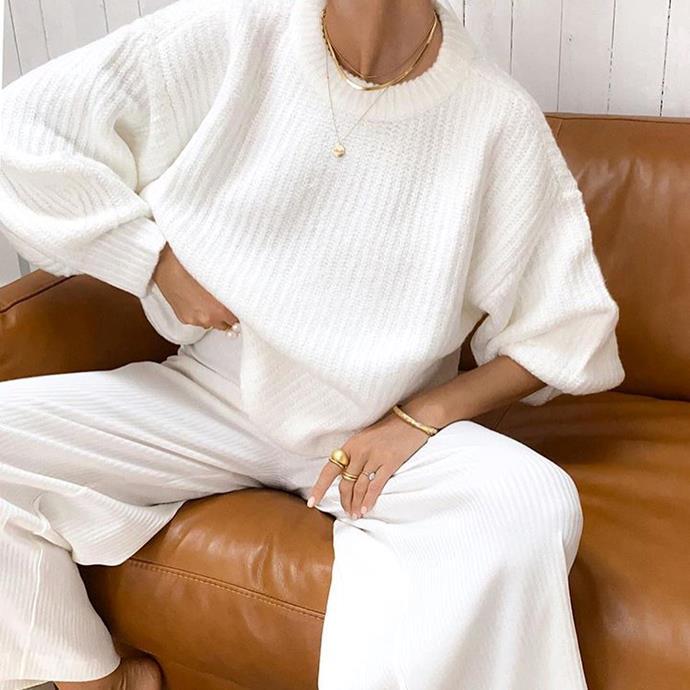 "['Immerse' knit jumper](https://www.surfstitch.com/zulu-and-zephyr-immerse-knit-jumper-white-zz2956white.html|target=""_blank""|rel=""nofollow""), $220, ['Immerse' knit pant](https://fave.co/3cgOQR3|target=""_blank""|rel=""nofollow""), $180, both by Zulu & Zephyr at [Surfstitch](https://www.surfstitch.com/brand/zulu-and-zephyr?start=0&sz=100|target=""_blank""|rel=""nofollow"")."