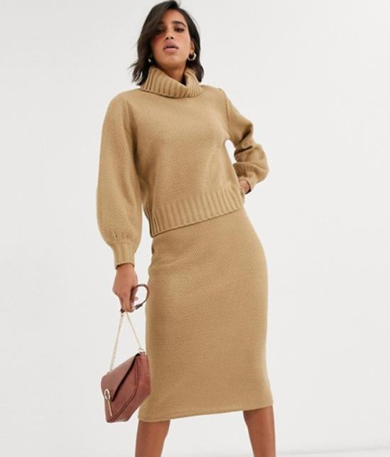 "[Co-ord waffle knit jumper with roll neck in camel by Y.A.S](https://fave.co/2RCd00i|target=""_blank""