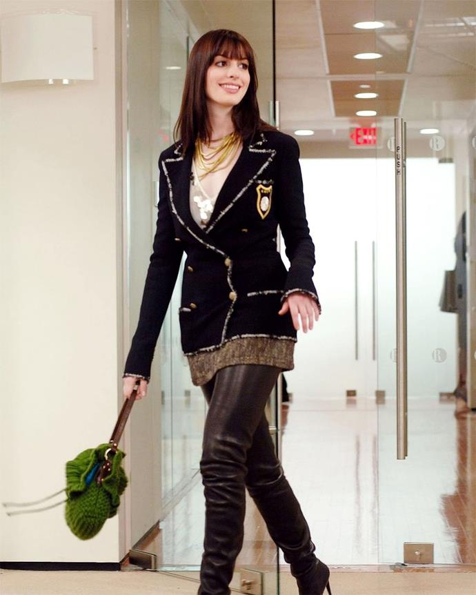 "***The Devil Wears Prada* (2006)** <br><br> *""Are you wearing the—""<br>""The Chanel boots? Yeah, I am.""* <br><br> Few quotes are more memorable than the above, which magazine assistant Andy Sachs remarks after getting a high-fashion makeover (involving a *lot* of 2000s Chanel) in 2006's *The Devil Wears Prada*. But while the quote has become canon, so have the film's various Chanel looks—from the thigh-high leather boots (pictured), to the house's famous asymmetrical pearl necklaces and tweed berets."
