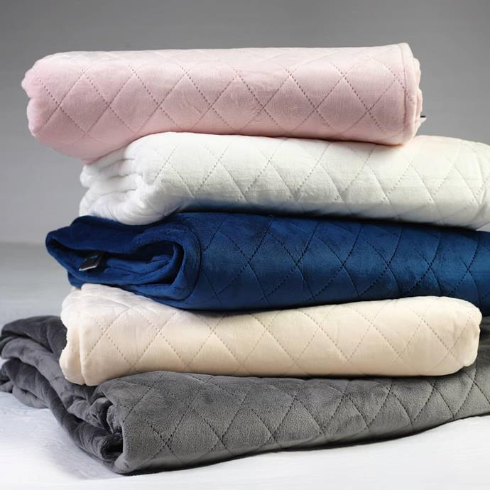 "**The Favourite** <br><br> A much-loved favourite among weighted blanket-devotees, this staple from Calming Blankets seems to be the go-to for any sleep seeker. <br><br> *Adult Weighted Blanket, $299 at [Calming Blankets](https://www.calmingblankets.com.au/products/weighted-blanket?variant=9698093695020&utm_medium=cpc&utm_source=google&utm_campaign=Google%20Shopping&gclid=EAIaIQobChMIu5a4x4vs6AIV1CMrCh3BZALeEAkYHiABEgLdQvD_BwE|target=""_blank""