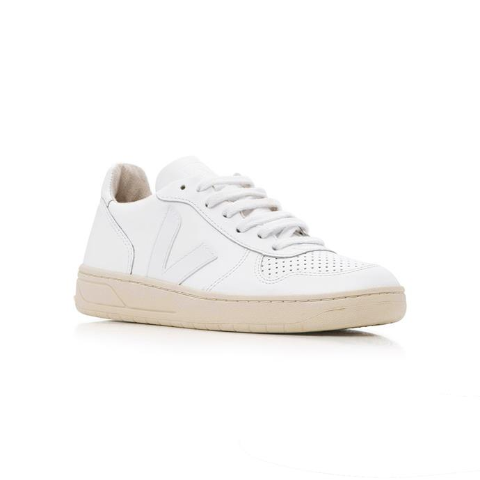 """**The inconspicuous white sneaker** <br><br> Few labels are quite as trusted as French footwear brand Veja, thanks to their now-iconic 'V'-adorned sneaker range (which is also available in [vegan leather](https://www.veja-store.com/en/182-vegan