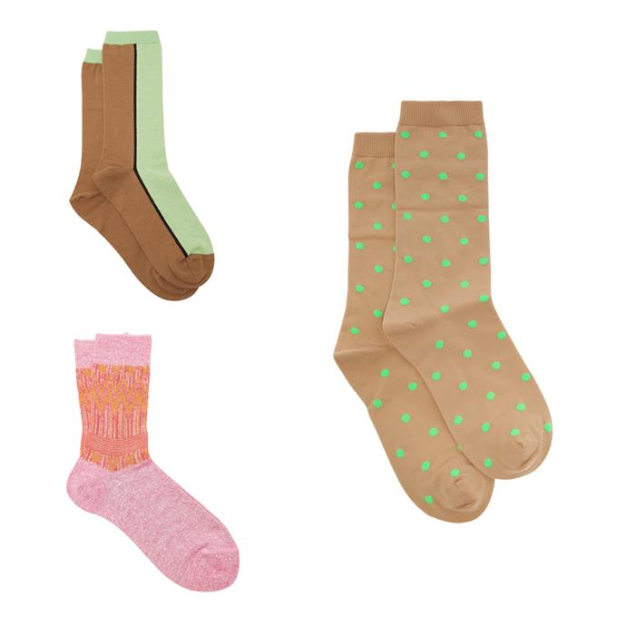 """**Socks that make you happy** <br><br> As the weather cools down and our time spent in quarantine lengthens, you'd be amazed at the joy a pair of colourful socks will bring in your life. Based on personal experience, we can guarantee that happy socks will bring the same level of excitement to your life as wearing your favourite pre-quarantine outfit. <br><br> *Socks clockwise from top left: $50 by [Ganni](https://fave.co/2XEyZru