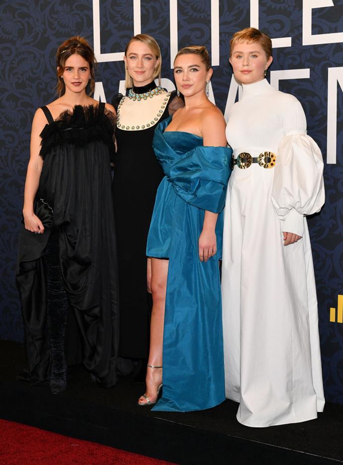 Pugh at the *Little Women* premiere with her castmates Emma Watson, Saoirse Ronan and Eliza Scanlen.