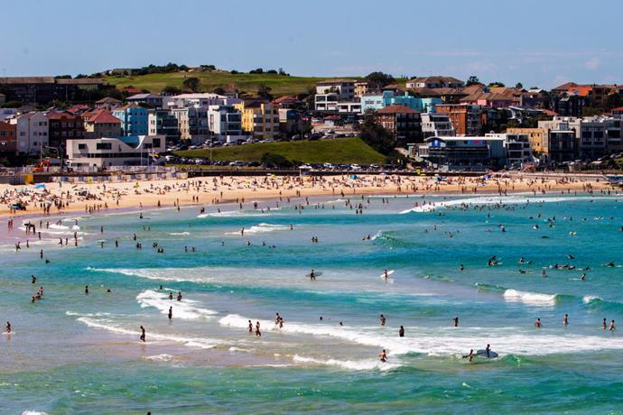 Bondi Beach on March 20, 2020. Days later, the beach was closed in an effort to prevent transmission of COVID-19.