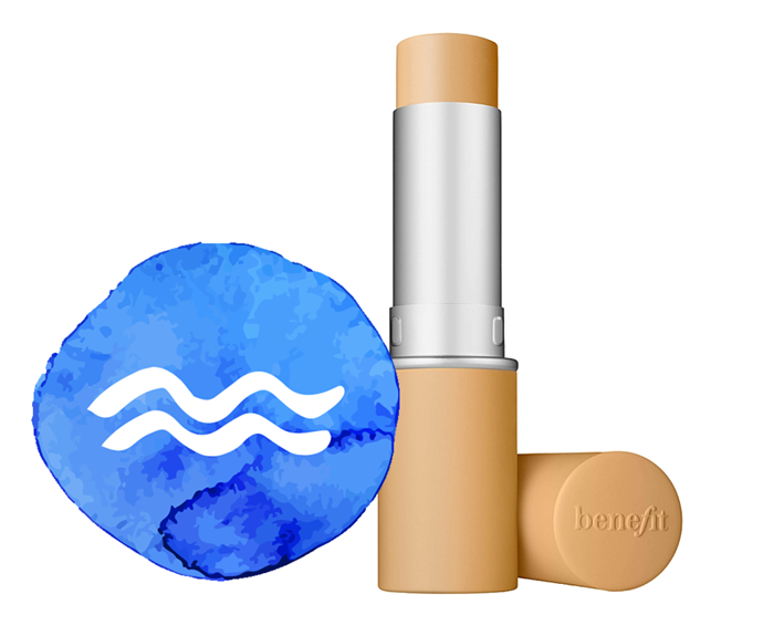 "**The sign: Aquarius<br></br> The product: Hello Happy Air Stick Foundation, $56 by [Benefit Cosmetics](https://www.benefitcosmetics.com/au/en-gb/product/hello-happy-air-stick-foundation|target=""_blank"")**<br></br> **The reason:** An air stick foundation formula for an air sign: apt, no? Don't stress about compromising (we know you're not *great* at that) on coverage or comfort either; it's nailed both. Lighthearted and yet also analytical, Aquarius' tend to be out-of-the-box thinkers, so we'll bet your savvy brain will even notice while shade shopping that the darker and lighter hues could be used for a little contour action. You clever thing."