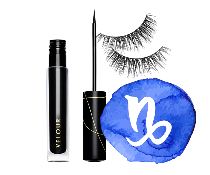 "**The sign: Capricorn<br></br> The products: Lash & Go Eyeliner by Velour, $44 at [Sephora](https://www.sephora.com.au/products/velour-lashes-lash-and-go-eyeliner/v/3-dot-5ml|target=""_blank"") and Effortless Natural Lashes in Short & Sweet by Velour Lashes, $43 at [Sephora](https://www.sephora.com.au/products/velour-lashes-effortless-natural-lash-collection/v/short-sweet