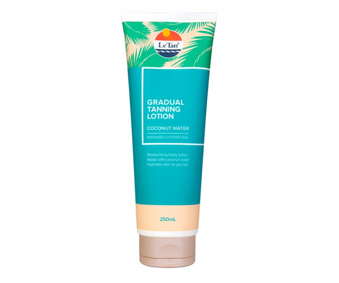 """**The best lotion: Coconut Water Gradual Tanning Lotion by Le Tan, $11.49 at [Chemist Warehouse](https://www.chemistwarehouse.com.au/buy/80506/le-tan-self-gradual-tanning-lotion-coconut-water-250ml