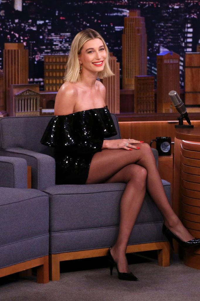 Hailey Bieber in Saint Laurent on *The Tonight Show Starring Jimmy Fallon* in February 2020.
