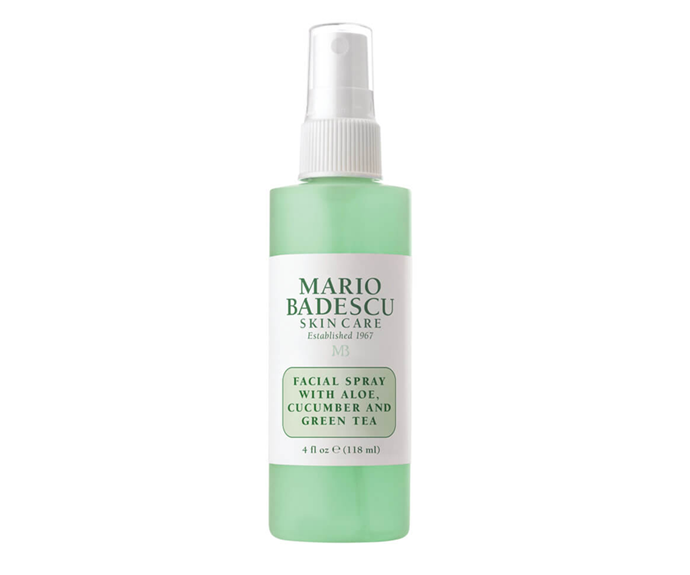 "**Facial Spray with Aloe, Cucumber and Green Tea by Mario Badescu, $11 at [MECCA](https://www.mecca.com.au/mario-badescu/facial-spray-with-aloe-cucumber-and-green-tea/V-027921.html?cgpath=skincare-cleansertoner-toner|target=""_blank"")**<br></br> Ah, all the members of the complexion-calming hall of fame (aloe vera, cucumber and green tea) together once more."