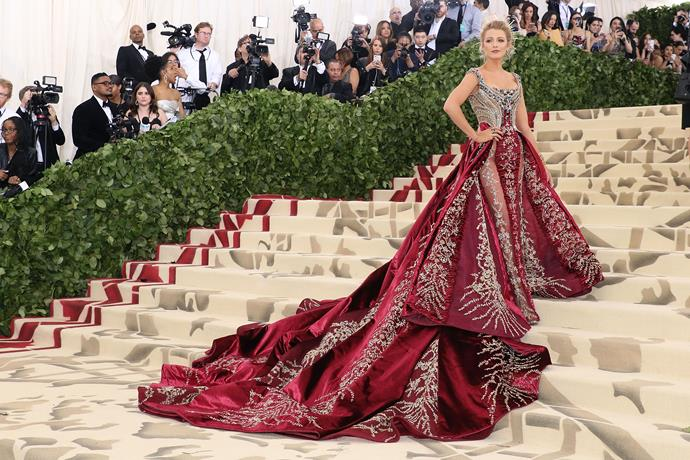 Blake at the Met Gala in 2018 with her matching dress.