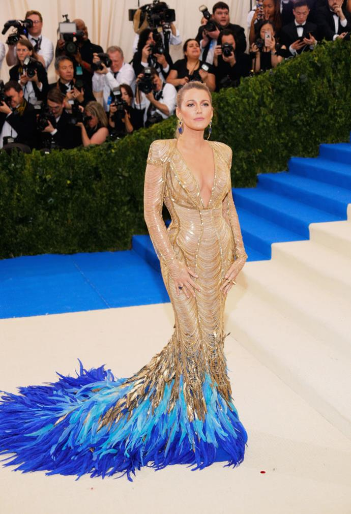 Lively at the Met Gala in 2017 with her dress matching.