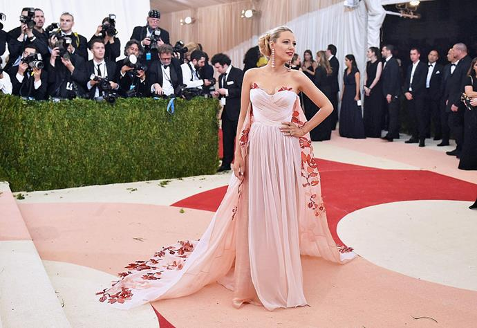 Lively at the Met Gala in 2016 with her dress matching.