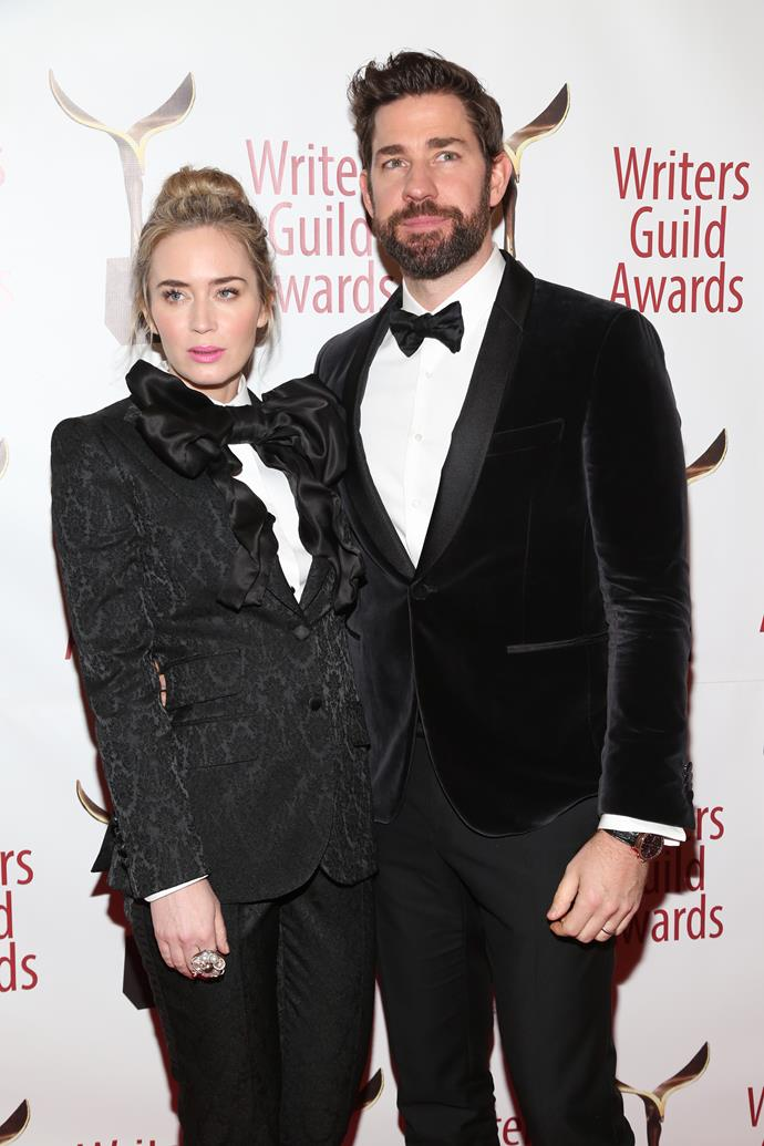 **Emily Blunt and John Krasinski** <br><br> There's mastering a power suit, and then there's Emily Blunt and John Krasinki nailing coordinated power suits. The *Quiet Place* stars don't typically match their wardrobe, however, Emily's avant-garde tuxedo at the Writers Guild Awards has convinced us that these two are the ultimate 'couple goals'.