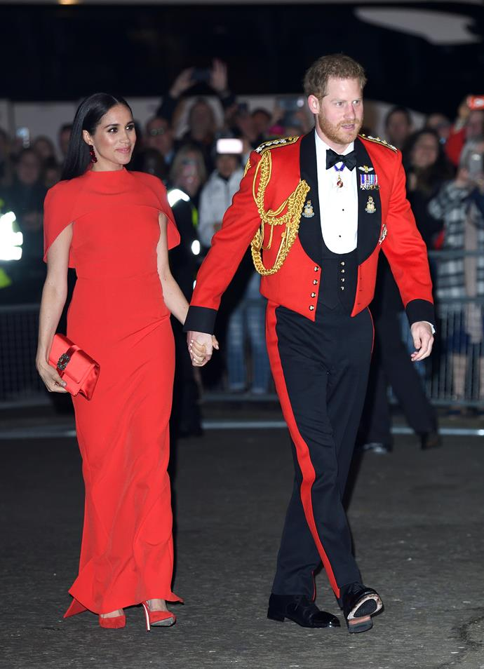 **Prince Harry and Meghan Markle** <br><br> While the Duke and Duchess of Sussex are seasoned professionals when it comes to matching their outfits, their colour coordination moment at the Mountbatten Festival of Music at Royal Albert Hall back in March will certainly go down in history.
