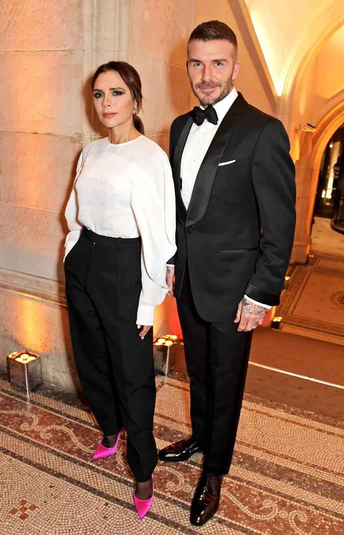 **David and Victoria Beckham** <br><br> Fashion's favourite It-couple love a neutral palette, and they do it oh-so well. Wearing head-to-toe black and white, Victoria's addition of a fuchsia pink heel, certainly gives their matching outfit an edge.