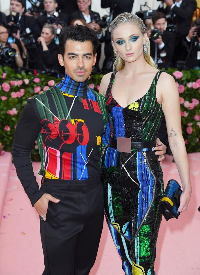 **Sophie Turner and Joe Jonas** <br><br> Whether it's matching tattoos or matching outfits, these two aren't shy of a couple moment. Stunning at the Met Gala in matching Louis Vuitton, the pair certainly convinced us that couple co-ordination may be more stylish than we think.