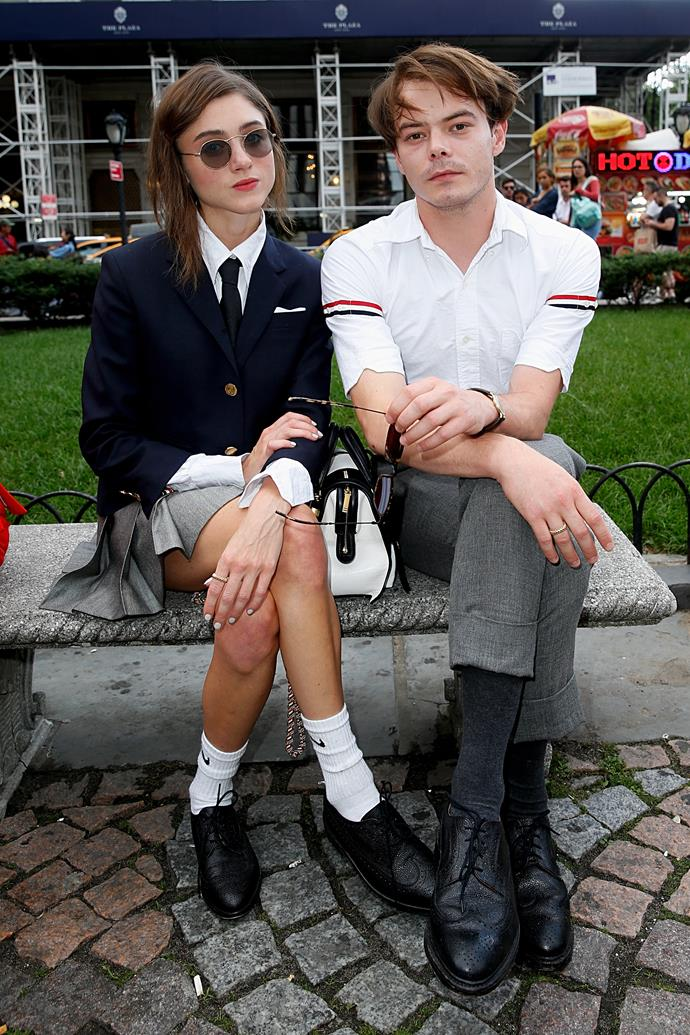 **Natalia Dyer and Charlie Heaton** <br><br> The two *Stranger Things* stars clearly have the same affinity for their wardrobe, as their stylistic fashion choices are always so in sync. Sporting a back-to-school look, the pair certainly make coordination look effortless.