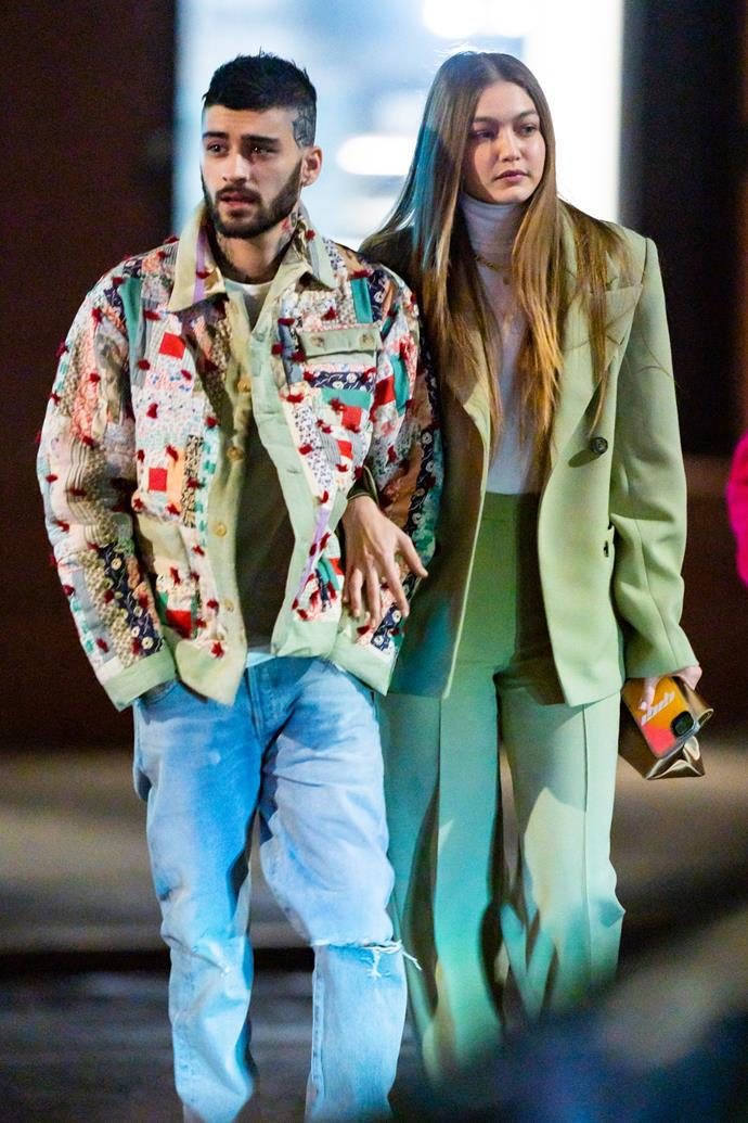 **Gigi Hadid and Zayn Malik** <br><br> Visions in pistachio green, the parents-to-be are professionals when it comes to couple co-ordination. Whether it's their *Matrix*-inspired ensemble to their metallic-esque ode to the 'Manus x Machina' theme for the Met Gala, these two certainly know how to match up their looks, off of the red carpet too.