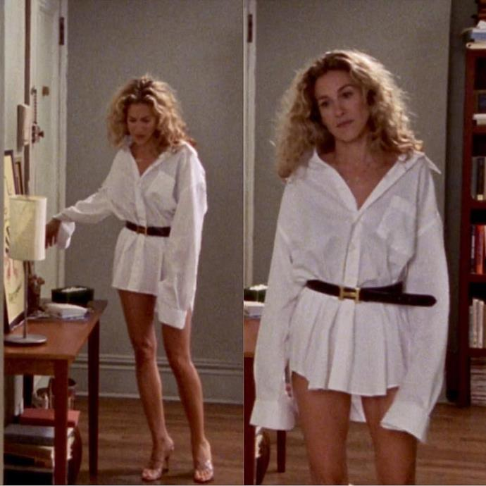 **Carrie Bradshaw in *Sex And The City*** <br><br> *The No-Pants Look* <br><br> For some, working from home with Zoom calls from the shoulders up, means only one thing: goodbye, pants. For those looking to forgo the restrictive nature of trousers yet still want a waistline, try Carrie's solution. Cinching in an oversized shirt with a Hermès belt will do just the trick.