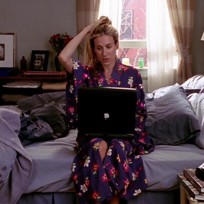 **Carrie Bradshaw in *Sex And The City*** <br><br> *The Kimono* <br><br> For those looking to embrace the comfort of a robe, but not wanting to go full terry-cloth, opting for a kimono-inspired piece may do just the trick. Carrie's favourite floral kimono, that we see her wear in many iterations, is the perfect way to stay chic and comfortable whether you're working from bed or not.