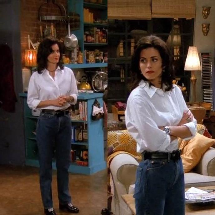 """**Monica Geller from *Friends*** <br><br> *The Crisp, White Shirt* <br><br> What better way to feel like you're in the office (but still keep comfy) than with a crisp, white shirt? Being the best dressed on the series (in [our opinion](https://www.elle.com.au/culture/monica-geller-friends-outfits-19757