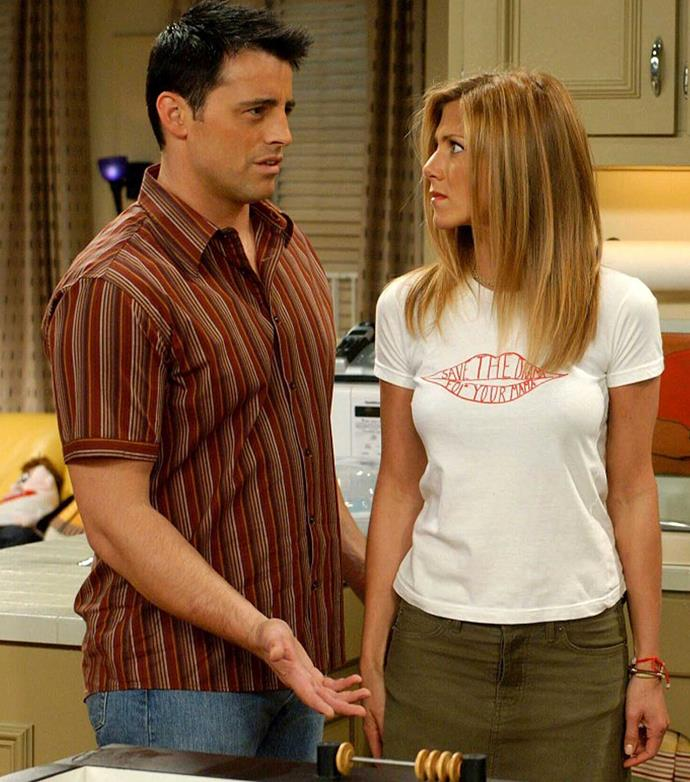 **Joey and Rachel from** ***Friends***<br><br>  For all the 'never should have happened' TV relationships on this list, this one is both one of the best and the worst. In a weird way, Joey and Rachel made a lot of sense (hear us out!) on a paper. Joey pining after Rachel was especially convincing, and if they hadn't been built up in such a brother-sister way for several seasons prior to their hooking up, maybe we would have bought it. However, that was not the case, and those two getting together was ultimately the most awkward of all the *Friends* relationships (which the characters realised themselves and broke off, thankfully).