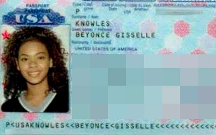 Beyoncé in her old passport photo.